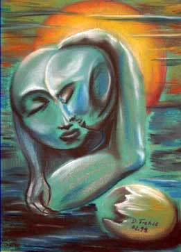 Kopf, Blau, Malerei, Surreal, Geborgen