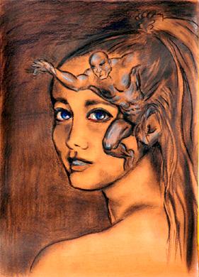 Mädchen, Mann, Zeichnung, Zeichnungen, Menschen,