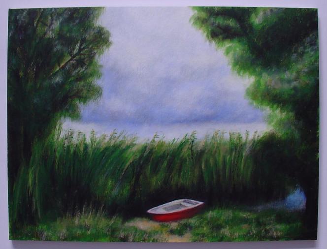 Malerei, Landschaft, Wind, Regen, Gewitter, Boot