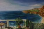 Malerei, Landschaft, Balkon