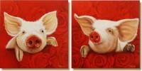 Schwein, Rose, Malerei, Tiere
