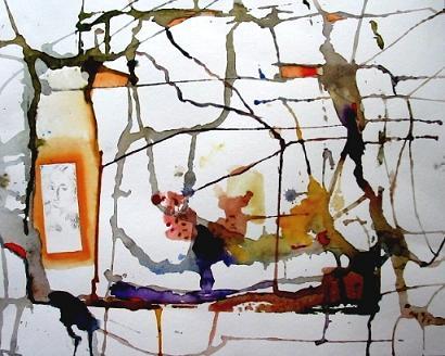Malerei, Gelb, Gefangen, Aquarellmalerei