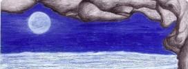 Meer, Malerei, Mond