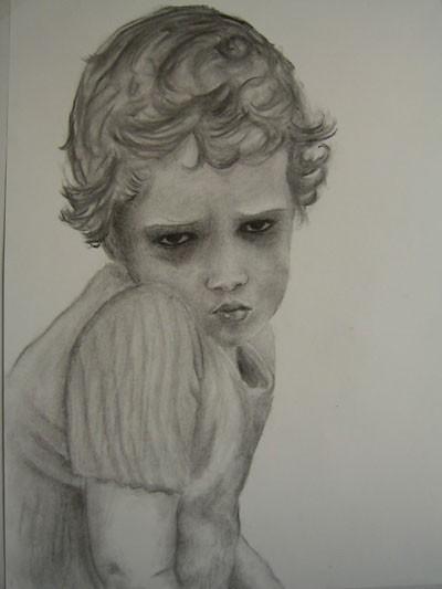 Portrait, Zeichnung, Kohlezeichnung, Kind, Zeichnungen, Kindheit