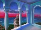 Landschaft, Zeichnung, Rot, Morgenrot