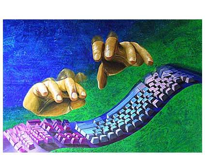 Stillleben, Tastatur, Farben, Malerei, Hände, Verlauf