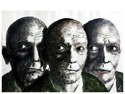 Trio, Bremerhaven, Portrait, Scriptol, Schwarz weiß, Tusche