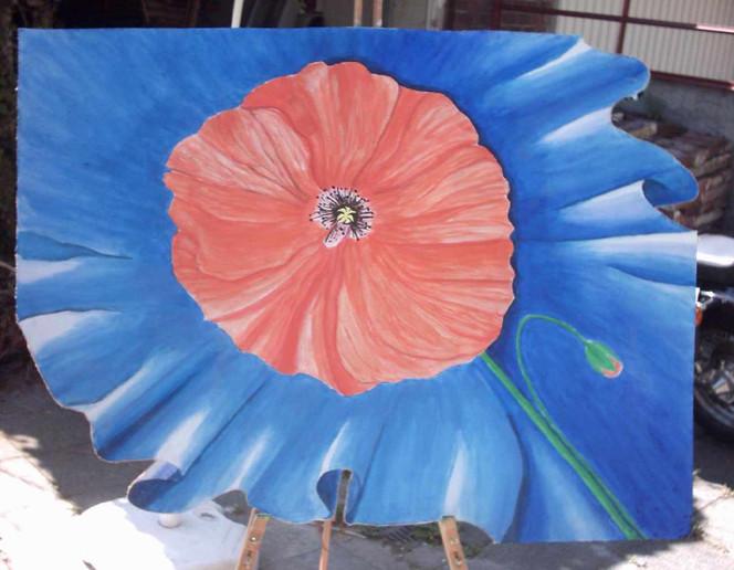 Sommer, Malerei, Blüte, Mohn, Tuch, Wiese