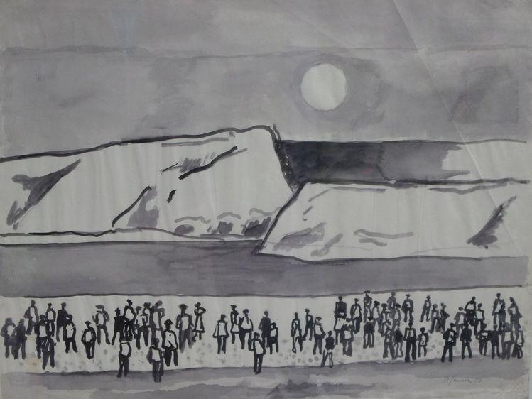 Sonnenuntergang, Versammlung, 1957, Menschen, Aquarellmalerei, Strand