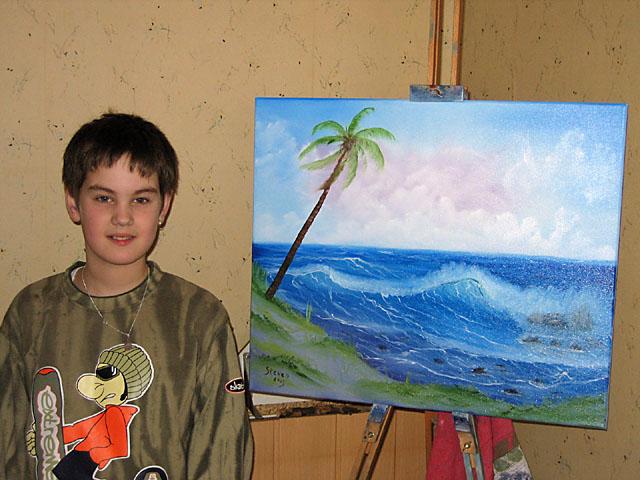 Jugend, Welle, Landschaft, Meer, Strand, Malerei