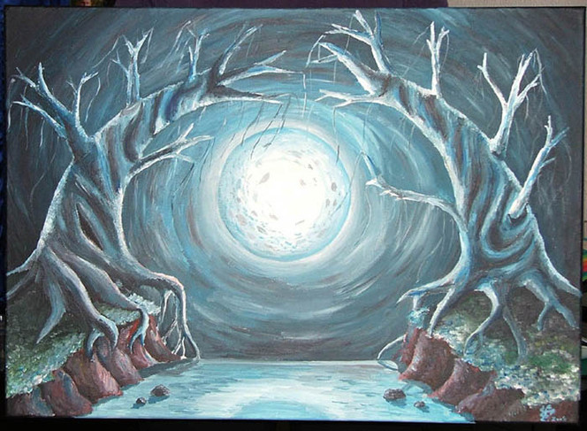 Surreal, Vollmond, Mond, Baum, Fluss, Seltsam