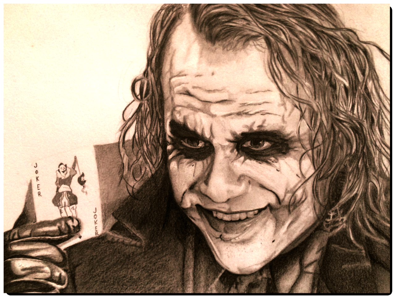 joker heath ledger joker zeichnung portrait. Black Bedroom Furniture Sets. Home Design Ideas