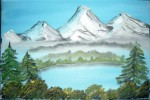 Malerei, Landschaft, Morgen, Früh