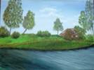 Landschaft, Malerei, Fluss