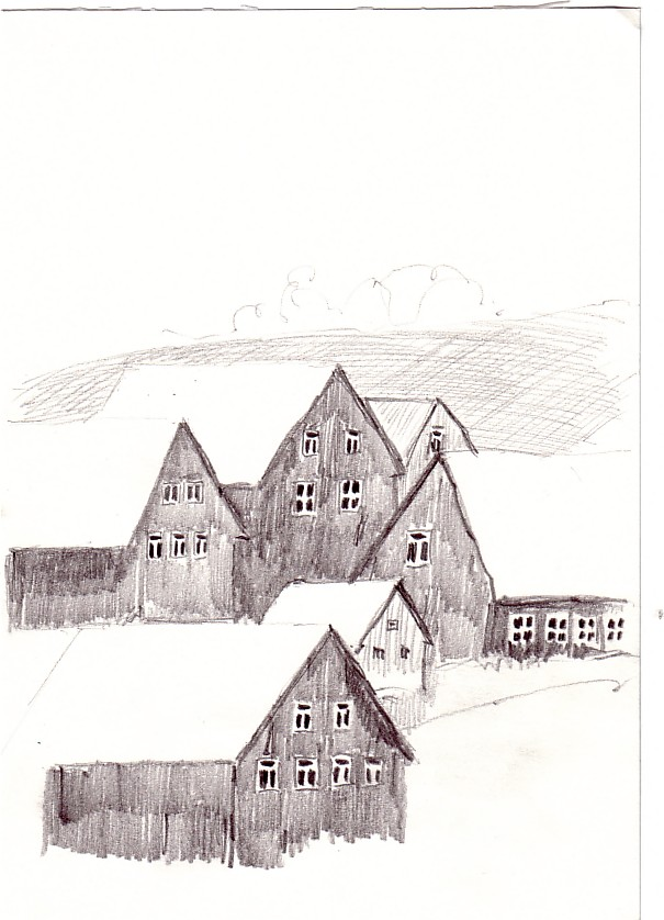 Hermsdorf Im Erzgebirge Hauser Am Kamm Zeichnung Skizze