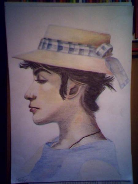 Portrait, Zeichnung, Zeichnungen, Hut, Frau