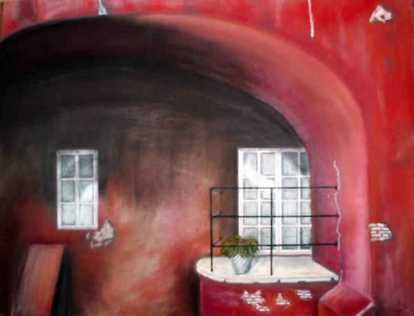 Alt, Glaskuenstler, Malerei, Landschaft, Oberirsen, Hof