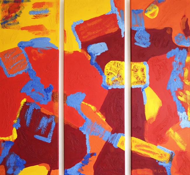 Mehrteiler, Malerei, Ölmalerei, Farben, Abstrakt