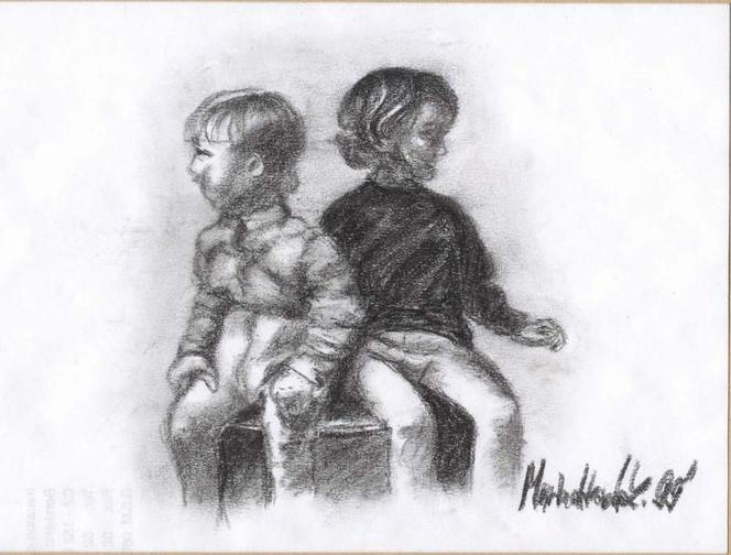 Portrait, Kinder, Zeichnung, Kohlezeichnung, Zeichnungen