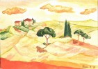 Landschaft, Toskana, Aquarellmalerei, Malerei