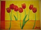 Ölmalerei, Tulpen, Bunt, Abstrakt