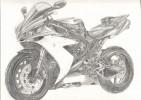 Zeichnung, Yamaha, Skizze, Motorrad
