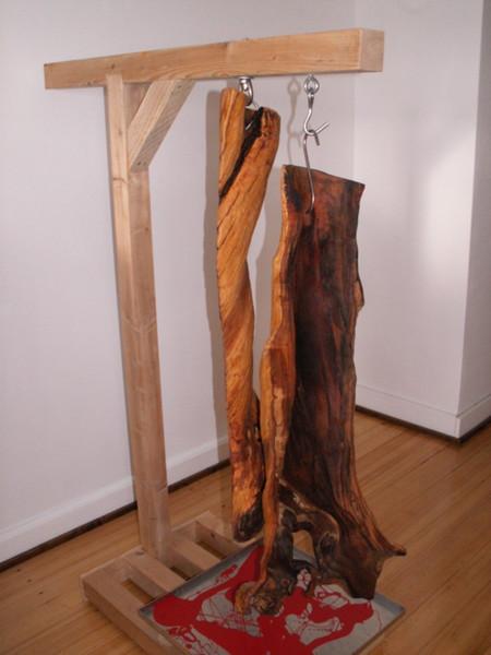 Skulptur, Pfirsichbaum, Speckschwarte, Baumkunst, Hausschlachtung, Plastik