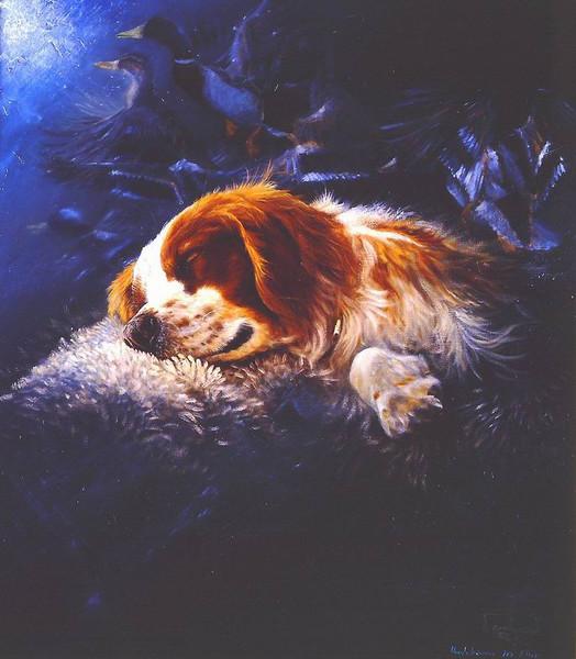 Hund, Malerei, Blau