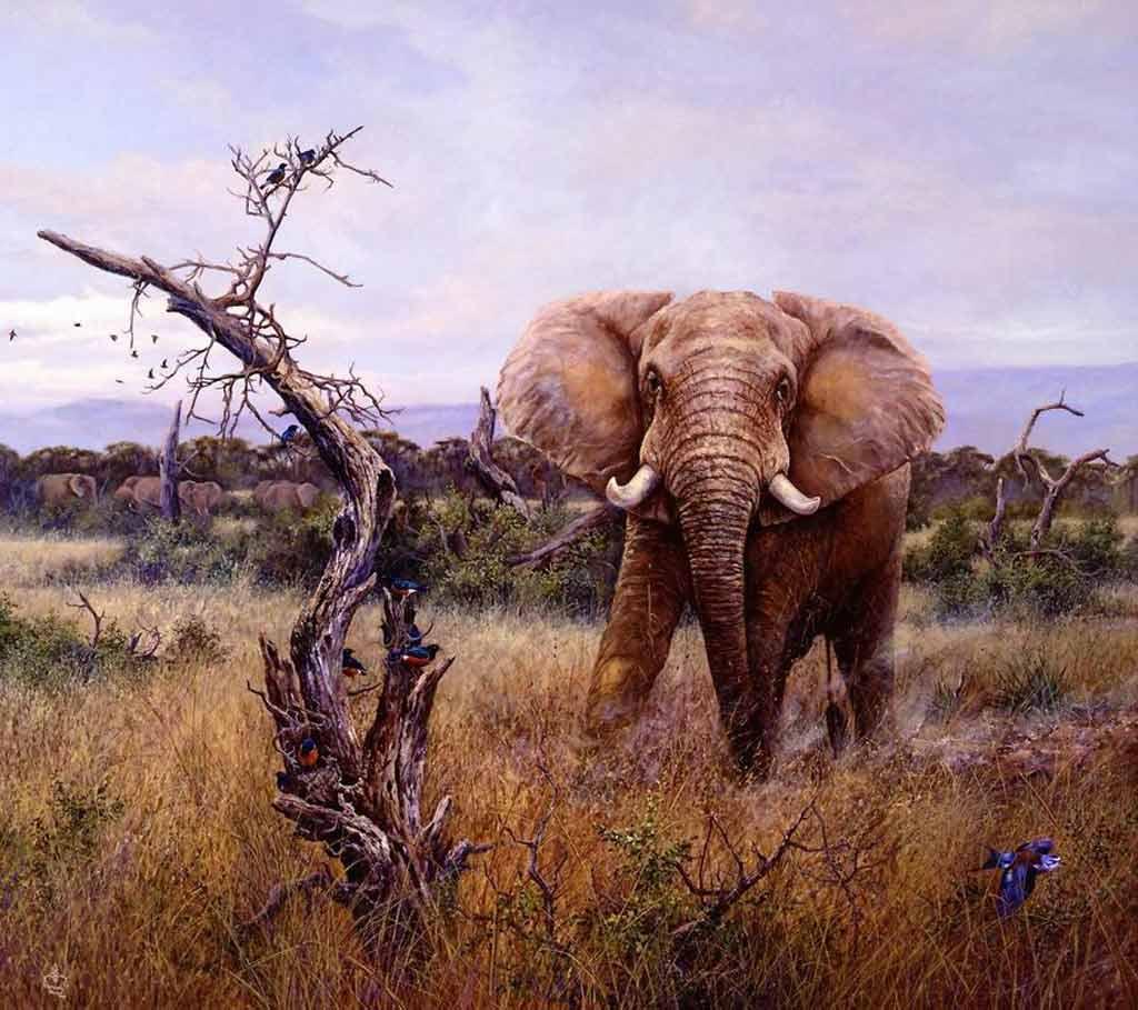 Bild figural malerei tiere elefant von conrad franz bei kunstnet - Elefanten bilder auf leinwand ...