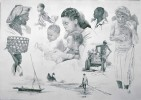 Afrika, Portrait, Zeichnungen, Familie