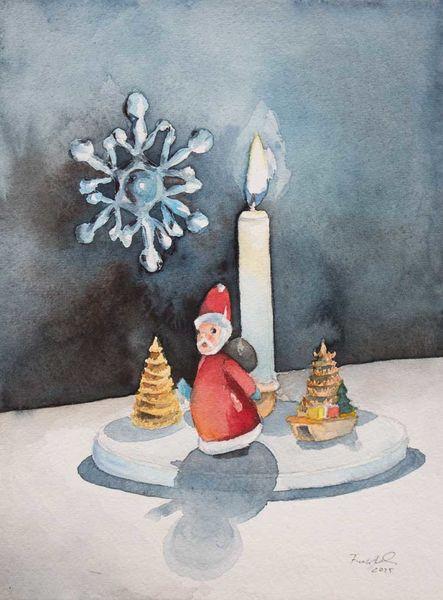Adventslicht, Adventskerze, Ein lichtlein brennt, Erzgebirge, Advent, Aquarellmalerei