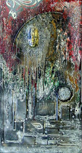 Mystik, Kraftvoll, Rot schwarz, Abstrakt, Malerei, Feuer