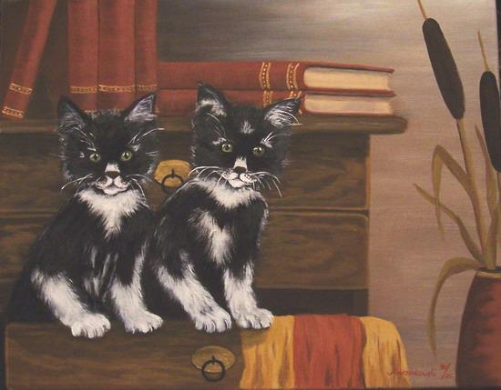 Malerei, Katze, Tiere