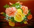 Stillleben, Blumen, Blätter, Malerei