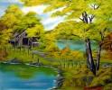 Landschaft, Malerei, Sehen, Hütte