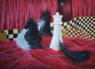 Feder, Vorhang, Schachfiguren, Malerei