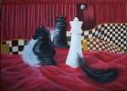 Malerei, Schachfiguren, Feder, Theater