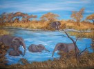 Landschaft, Malerei, Elefant