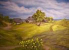 Haus, Baum, Gras, Ölmalerei