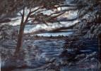 Malerei, Wolken, Landschaft, Nacht