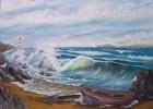 Landschaft, Malerei, Meer, Möwe