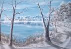 Weg, Winter, Malerei, Landschaft