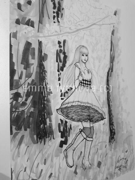 Frau, Schwarzweiß, Comic, Wald, Figth, Design