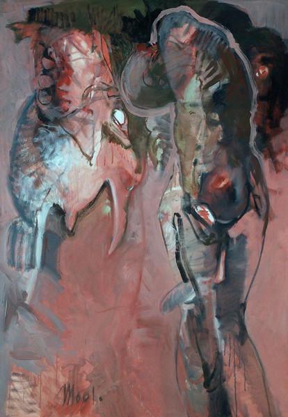 Grün, Figural, Frau, Saftig, Fisch, Malerei