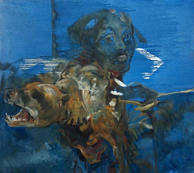 Zeit, Raserei, Figural, Malerei, Hund, Tiere