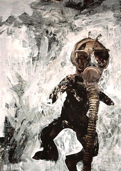 Luft, Elefant, Acrylmalerei, Ersticken, Endzeit, Figural