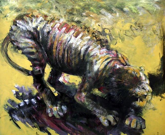 Gelb, Tiger, Malerei, Tiere,