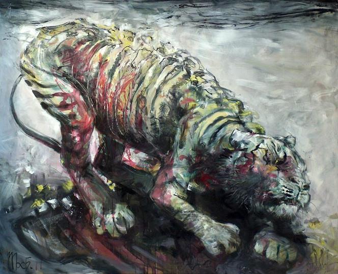 Malerei, Weiß, Tiger, Ocker, Rosa, Tiere