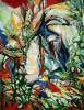 Malerei, Abstrakt, Landschaft, Waldrand