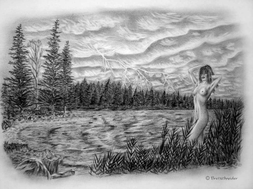 Ganz und zu Extrem der See - Zeichnung, Landschaft, Zeichnungen, See von enrico bei #EX_52